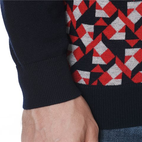 Blue red grey houndstooth sweater