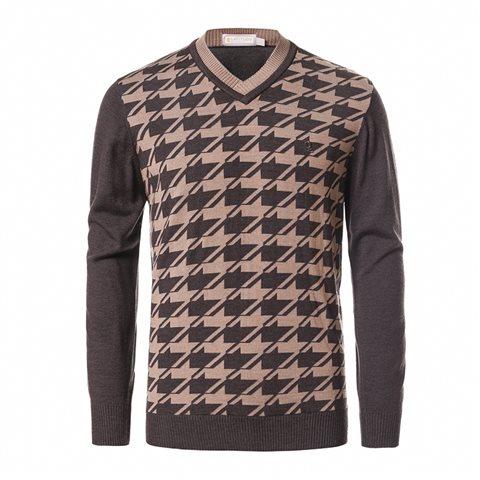V-neck houndstooth sweater